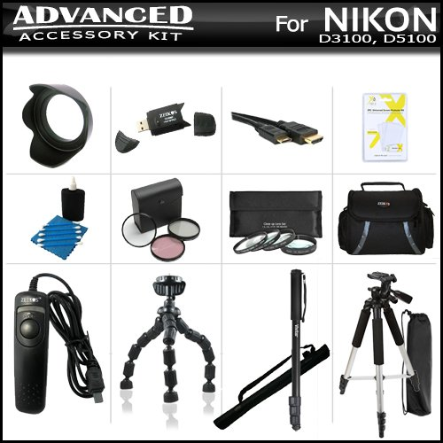 Advanced Accessory Bundle Kit For Nikon Df, D5200, D5300, D3300, D3200 D3100 D5100 DSLR Includes SD Memory Card Reader + Deluxe Carrying Case + 57 Tripod + 67 Monopod + Gripster + Remote Shutter + Lens Hood + 52MM 3pc Filter Kit + Close Up Filter Set ++