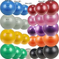 Isokinetics Inc. Brand Exercise Ball - Anti-Burst - 3 Sizes Available: 55cm, 65cm, 75cm - Many Colors - For Fitness, Therapy, Sports Training, Yoga and More