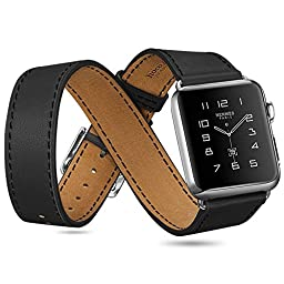 JDHDL Hoco Apple Watch Band Cow Leather Classic with Metal Buckle for Iwatch (Including Three Style:Single and Double ,Bracelet) (38mm Black)