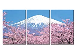 Canvas Print Wall Art Painting For Home Decor Peak Of Mount Fuji With Cherry Blossom Sakura In Blue Sky View From Lake Kawaguchiko Japan In Spring 3 Pieces Panel Paintings Modern Giclee Stretched And Framed Artwork The Picture For Living Room Decoration L