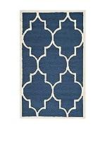 SAFAVIEH Alfombra Everly Textured Area Rug, 91 X 152 Cm (Azul Marino)