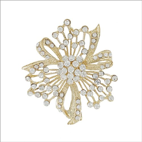 Flower with Crystal Stone Accent Pin #041897