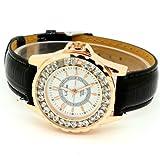 Conbays Black Round Dial Crystal Girl Lady Leather Quartz Wrist Watch Women Gift Luxury