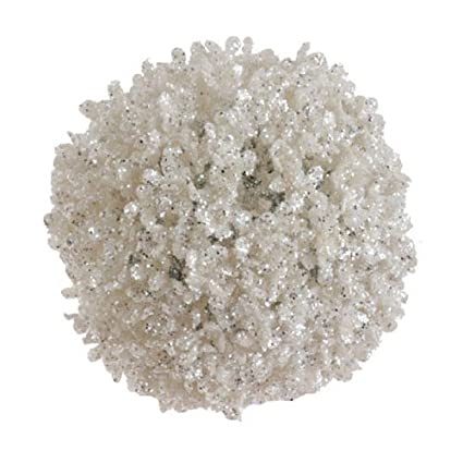 Glittered White Ball 6-inch Ornament by RAZ Imports