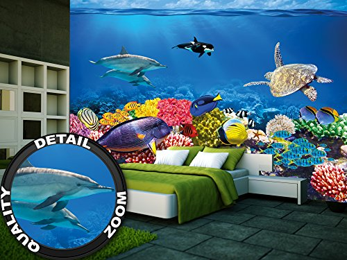 unterwasser korallenriff fototapete aquarium fische meer wandbild xxl unterwasser meereswelt. Black Bedroom Furniture Sets. Home Design Ideas