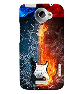 ColourCraft Water and Fire Guitar Design Back Case Cover for HTC ONE X