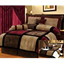 7 Pieces Brown Burgundy And Black Micro Suede Patchwork Removable Cover Comforter Set Bed In A Bag California Cal King Size