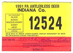 1991 antlerless deer tap pa doe hunting for Fishing license indiana