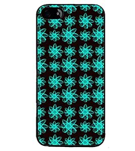 Printvisa Blue And Black Floral Pattern Back Case Cover for Apple iPhone 4