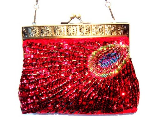 NWT Shiny Sequined Beaded Purse Bridal Accessories Satin Handbag Evening Purse Mini Bag Wedding Clutch Holiday Birthday Gift Bea088-red