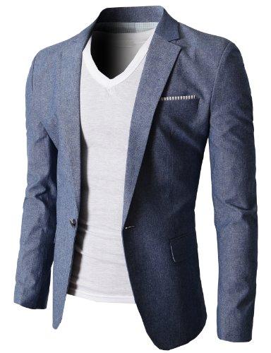 H2H-Mens-Fashion-Linen-Blazer-of-Various-Colors-Single-Button