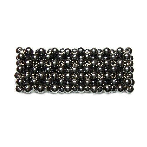 Seven Beaded Row Magnetic Hematite Stretch Bracelet