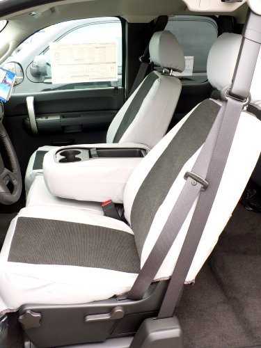 Exact Seat Covers, C1128 L7/V1, 2007-2013 Chevy Silverado, Avalanche and GMC Sierra LS 40/20/40 Custom Seat Covers, 2 Tone Silver Leatherette with Black Velour Inserts