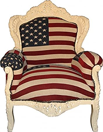 Casa Padrino Baroque Armchair 'King' USA / Cream - furniture antique style American flag United States