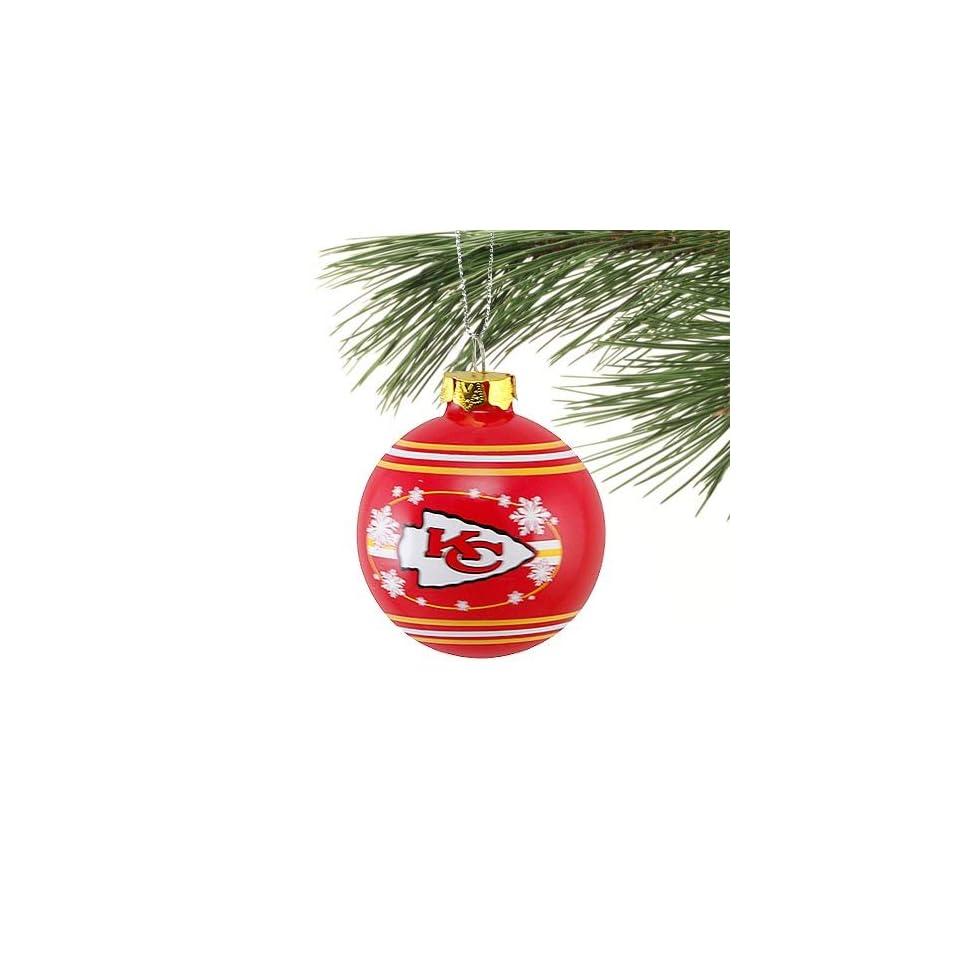 Kansas City Chiefs Red Glass Ball Snowflake Ornament