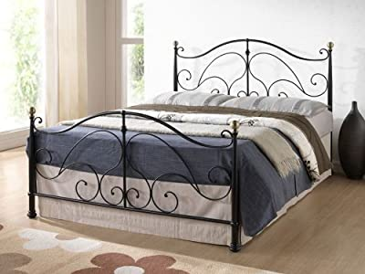 Happy Beds Milano Antique Brass Finials Ornate Metal Bed Bedroom Furniture New