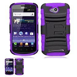 Coolpad Quattro 4G Black And Purple Hardcore Kickstand Case 2nd Gen.