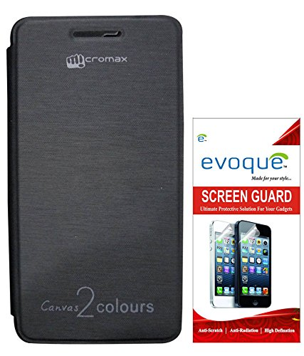 Evoque Flip Cover For Micromax Canvas 2 Colors A120 Black + Screen Guard  available at amazon for Rs.175