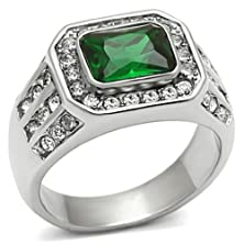 buy Men'S 316L Silver Stainless Steel Green Synthetic Stone Polished Ring, Size 9
