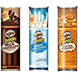 Pringles Limited Edition Salted Caramel White and Milk Chocolate 3 Pack Containers