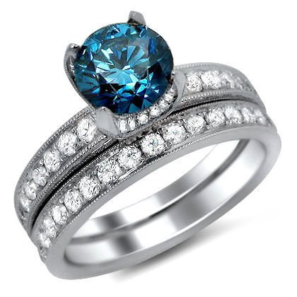 1.90Ct Fancy Blue Round Diamond Ring Matching Band Set 18K White Gold With A 0.80Ct Center Diamond And 1.10Ct Of Surrounding Diamonds