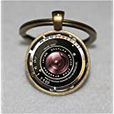 Vintage camera lens Keychain ,black camera Keychain,camera lens Keychain