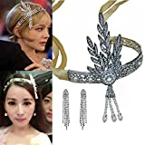 Santfe 1920s Great Gatsby Vintage Style Pearl Crown Charleston Bridal Headband Headpiece + Earring