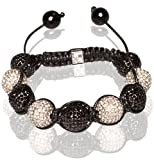 Tibetan Shamballa Unisex Bracelet In Black And White (Item Includes Gift Box)