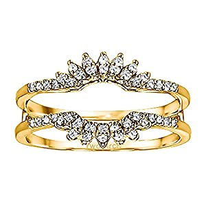 0.22CT Diamonds Contoured Wedding Ring Jacket set in Yellow Plated Sterling Silver (0.22CT TWT Diamonds G-H I1-I2)