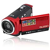 YBLUESKY 16mp Digital Video Camcorder with 16x Zoom and 2.7'' TFT LCD Rotation Screen Digital Camera HD 720P,Red