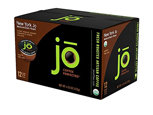 NEW YORK JO: 12 Cup Organic Medium Dark Roast for K-Cup Coffee Brewers, Keurig 1.0 & 2.0 Eco-Friendly Cup, Our Most Popular Signature Blend! USDA Ce