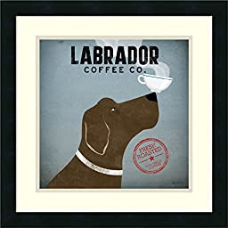 Framed Art Print, \'Labrador Coffee Co.\' by Ryan Fowler: Outer Size 18 x 18\
