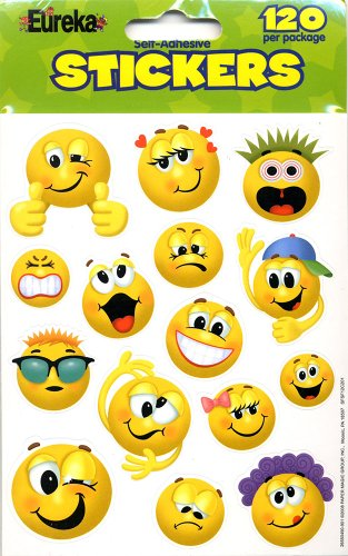 Eureka Emoticons Stickers, 120 Per Pack