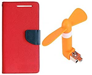 Novo Style Book Style Folio Wallet Case Micromax Canvas Xpress 2 E313 Red + Smallest Mobile Fan Android Smart Phone