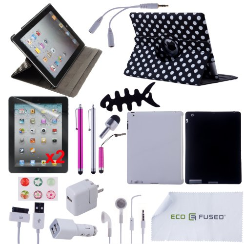 22 pcs iPad 3 Accessory Bundle / 360° Polka Dot Designer Leather Case /Grey TPU Case / Black Silicone Case / Earphones / 4 Pink and Silver Stylus pens! / Chargers for iPad 3 - ECO-FUSED® Microfiber Cleaning Cloth Included - And MORE! Also compatible with iPad 2 (Polka dot)