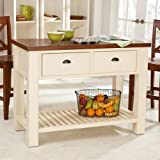 51yMdodWWxL. SL160  Carlton Kitchen Island with Pass Through Drawers   Antique White