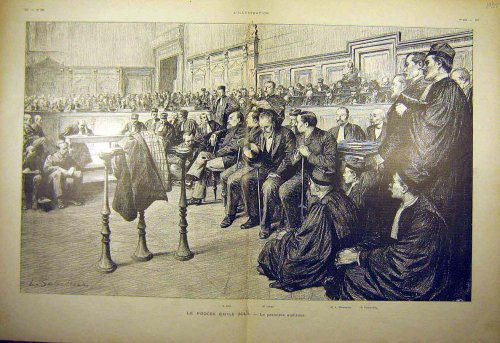 1898 Court Zola Labori Clemenceau Trial Hearing Print