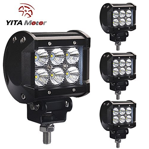 YITAMOTOR 4 PCS 18W Dual Rows LED Light Work Flood Beam Driving Fog Offroad SUV 4WD Car Truck (Dual Beam Driving Lights compare prices)