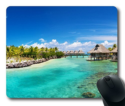 hilton-bora-bora-nui-resort-mouse-pad-oblong-shaped-mouse-mat-design-natural-eco-rubber-durable-comp