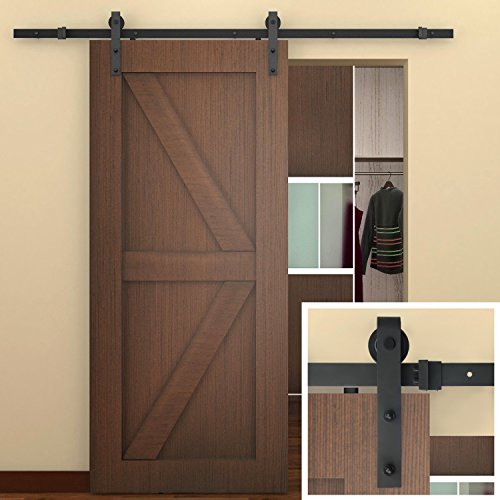 SMARTSTANDARD 6.6 FT Sliding Barn Door Hardware (Black) (J Shape Hangers) (1 x 6.6 foot Rail)­ (French Door Barn Door Hardware compare prices)