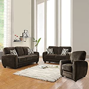 Enria Plush Sofa Set Chocolate Living Room Furniture Sets