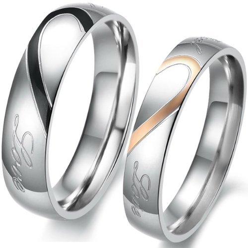 """JewelryWe Gioielli anello da uomo donna acciaio inossidabile promessa """"Real Love"""" e amore cuore dipinto fidanzamento matrimonio Bands"""
