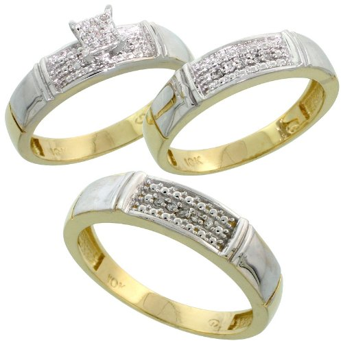 10k Yellow Gold Diamond Trio Engagement Wedding Ring Set for Him and Her 3 pi