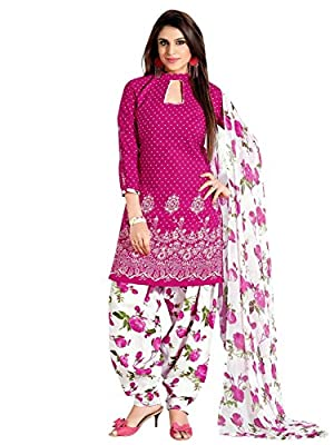 Divyaemporio Women'S Faux Cotton Pink And White Salwar Suits Dress Material