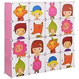 neuhaus-Kinder-Regalsystem-DIY-mit-16-Fchern-145x145cm-Kunststoff-Steckregal