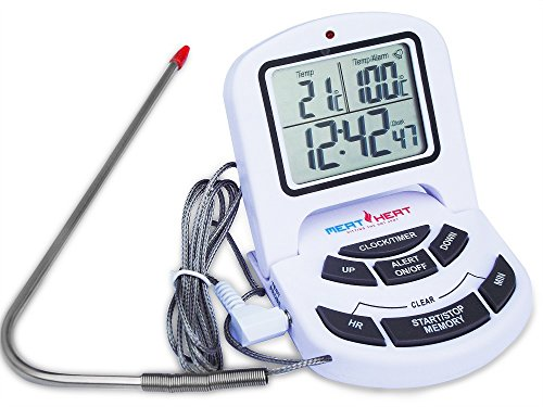 Digital Meat, Oven, BBQ and Oven thermometer. Bright LED flashing alarm light, loud alarm and leave-in stainless steel food probe. Battery included. (Meat Thermometer And Timer compare prices)