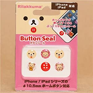 Autocollants Rilakkuma bouton home d'iPhone/iPad, ours blanc