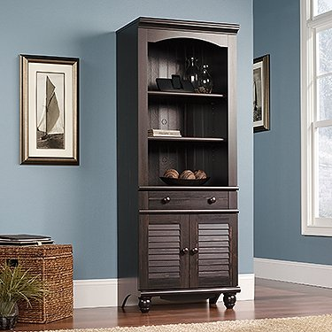 Sauder Harbor View Library With Doors In Antiqued Paint front-962775