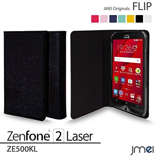 ZenFone2 Laser ZE500KL カバー jmeiオリジナルフリップカバー ブラック 楽天モバイル simフリー ASUS エイスース ゼンフォン 2 レーザー スマホケース 手帳型 スリム スマートフォン ケース