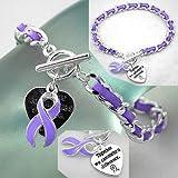 Purple Ribbon Cancer Awareness Toggle Bracelet w/ Suede